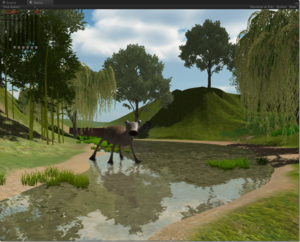 A screenshot from an interactive 3D game showing a reflective pond surrounded by grassy hills and trees. There is a brown mule-sized quadrupedal animal with bulging eyes and a trumpet-bell-shaped mouth wading in the water with a wide stance.